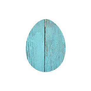 Rustic Farmhouse 6 in. Turquoise Wood Egg (Set of 3), Turquoise, large