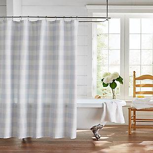 "Josie Accessories, Inc. Buffalo Check Shower Curtain, 72""x72"", Blue/White, Blue/White, rollover"