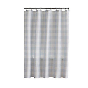 "Josie Accessories, Inc. Buffalo Check Shower Curtain, 72""x72"", Blue/White, Blue/White, large"