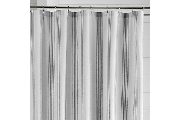 "Josie Accessories, Inc. Homestead Stripe Fabric Bathroom Shower Curtain, 72""x72"", Black, Black, large"