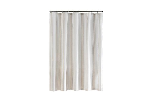 "Josie Accessories, Inc. Homestead Stripe Fabric Bathroom Shower Curtain, 72""x72"", Tan, Tan, large"