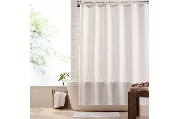 "Josie Accessories, Inc. Modern Fabric Shower Curtain, 72""x72"", White, White, large"