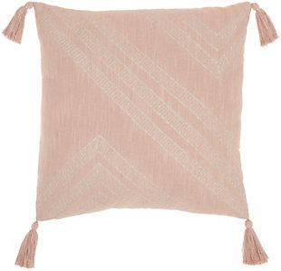 """Nourison Kathy Ireland Oversize Metallic Embroidered Square 20"""" X 20"""" Throw Pillow, Blush, large"""