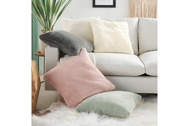 "Nourison Mina Victory Oversize Faux Fur 20"" x 20"" Throw Pillow, White, large"