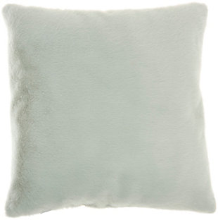 "Nourison Mina Victory Oversize Faux Fur 20"" x 20"" Throw Pillow, Celadon, large"
