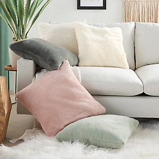 """Nourison Mina Victory Oversize Faux Fur 20"""" x 20"""" Throw Pillow, Celadon, large"""