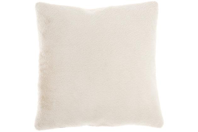 "Nourison Mina Victory Oversize Faux Fur 20"" x 20"" Throw Pillow, Beige, large"