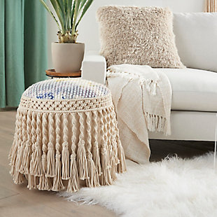Nourison Mina Victory Life Styles Tie Dye Indoor Pouf, , rollover