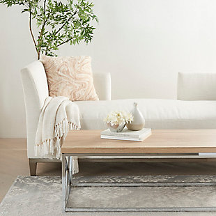 """Nourison Mina Victory Life Styles Marble Plush 20"""" X 20"""" Throw Pillow, Beige, rollover"""
