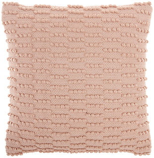 "Nourison Mina Victory Life Styles Woven Dot Striped 18"" x 18"" Throw Pillow, Blush, large"