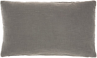 """Nourison Mina Victory Life Styles Woven 14"""" X 24"""" Oblong Throw Pillow, Gray, large"""