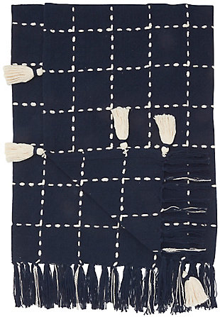 Nourison Mina Victory Life Styles Woven Checkered Tasseled Throw Blanket, , large