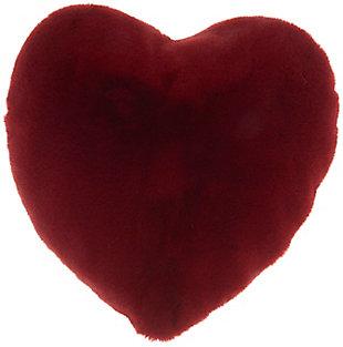 "Nourison Mina Victory Heart Faux Rabbit Fur 18""X18"" Throw Pillow, Deep Red, large"