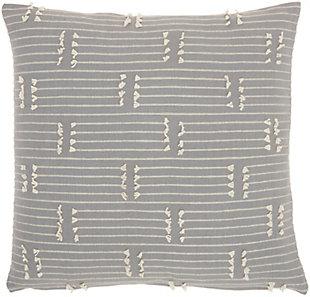 """Nourison Kathy Ireland Striped Stitch 18"""" x 18"""" Throw Pillow, Gray, large"""
