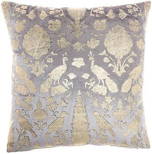 "Nourison Mina Victory Sofia Foil Print Birds 20"" x 20"" Throw Pillow, Gray, large"