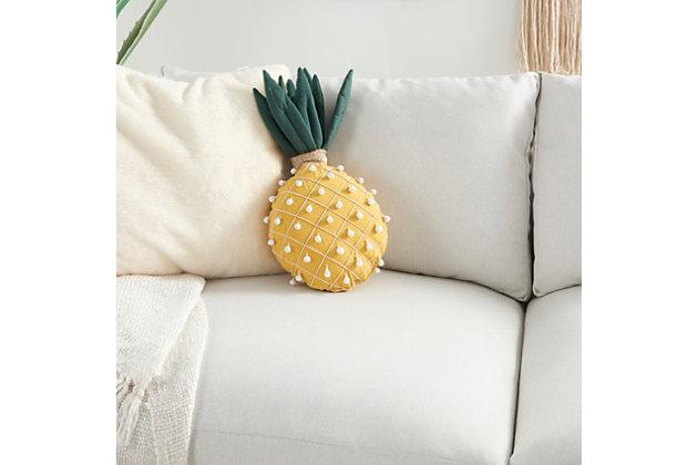 "Nourison Mina Victory Pineapple  Plush 20"" X 12"" Throw Pillow, , large"