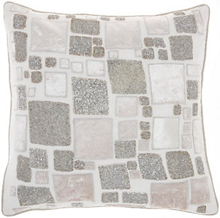 """Nourison Mina Victory Sofia Beaded Patchwork  20"""" x 20"""" Throw Pillow, , large"""