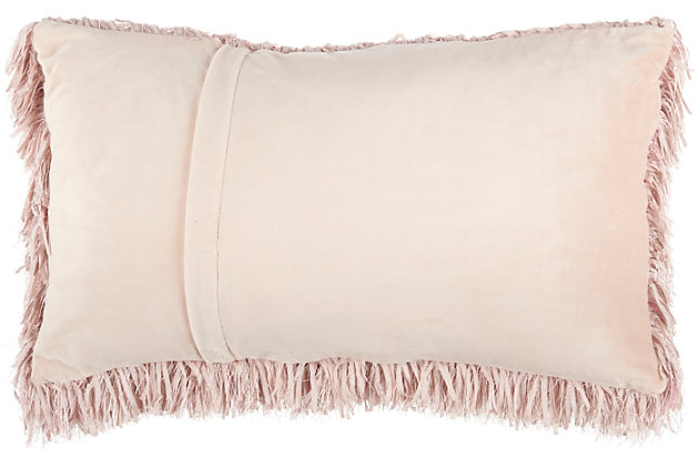"Nourison Mina Victory Soft Ribbon Shag 14"" X 24"" Throw Pillow, Blush, large"