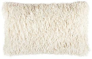 "Nourison Mina Victory Soft Ribbon Shag 14"" X 24"" Throw Pillow, Ivory, large"