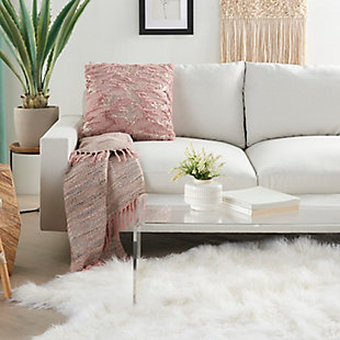 """Nourison Mina Victory Sofia Sequined Faux Fur 20"""" x 20"""" Throw Pillow, Blush, rollover"""