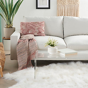 """Nourison Mina Victory Sofia Sequined Faux Fur 14""""  X 20"""" Throw Pillow, Blush, rollover"""