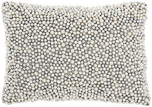 """Nourison Mina Victory Luminescence Fully Beaded Faux Pearl 10"""" x 14"""" Throw Pillow, Ivory/Silver, large"""
