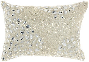 """Nourison Mina Victory Luminescence Fully Beaded 10"""" x 14"""" Throw Pillow, Silver, large"""