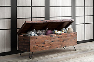 Crawford & Burke Acacia Wood Storage Bench, , rollover