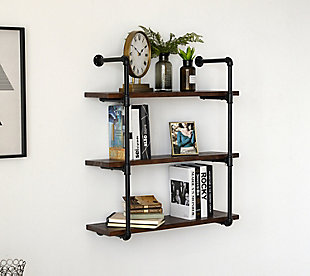Crawford & Burke 3-Tier Piped Floating Wall Shelf, , rollover