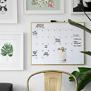 Magnetic Monthly Calendar Dry Erase Board with Gold Frame (20 x 16 Inches), , rollover