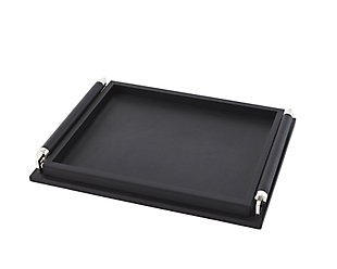 Global Views Black Leather Wrapped Handle Tray, , large