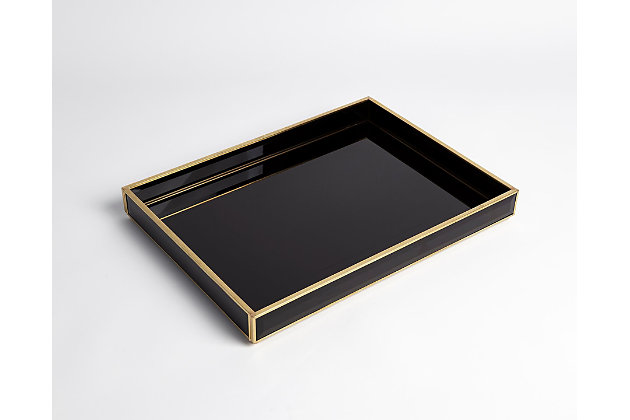 Global Views Bevelled Black Glass Tray, , large