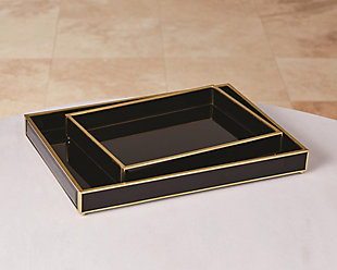 Global Views Bevelled Black Glass Tray, , rollover