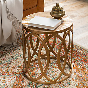 Surya Earnshaw End Table, Brass, rollover