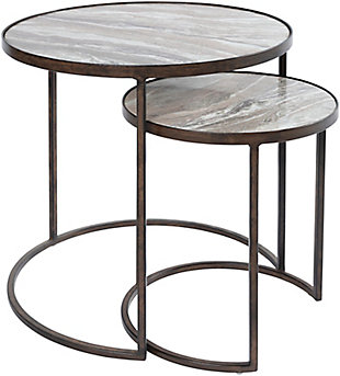 Surya Hearthstone Nesting Table (Set of 2), Gray/Black, large