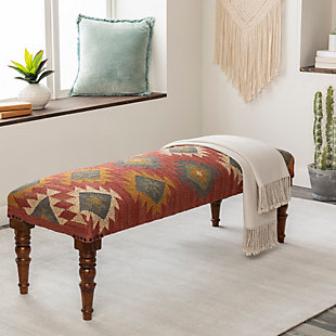 Surya Panja Upholstered Bench, Dark Red/Multi, rollover