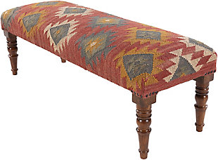 Surya Panja Upholstered Bench, Dark Red/Multi, large