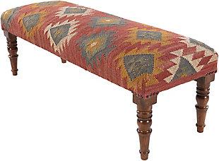 Surya Panja Upholstered Bench, Dark Red/Multi, large