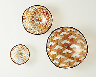Global Views Amber Glass Wall Bowls (Set of 3), , rollover