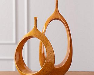 Global Views Oval Ring Orange Vase, , rollover