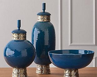 Global Views Blue Tall Maze Jar, , rollover