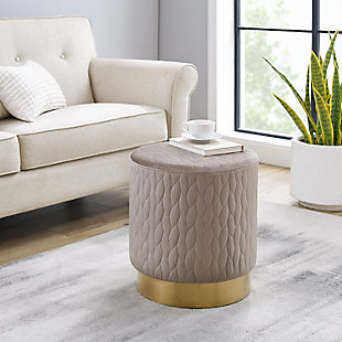 Linon Lennie Round Upholstered Stool Ottoman, , rollover