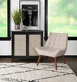 Linon Ramsey Linen Tufted Accent Chair, , rollover