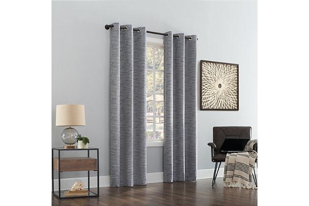 "Sun Zero Denver Distressed Stripe Thermal Extreme 100% Blackout 40"" x 63"" Navy Grommet Curtain Panel, Navy, large"