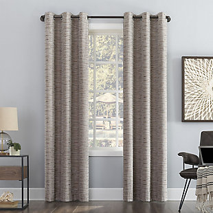 "Sun Zero Denver Distressed Stripe Thermal Extreme 100% Blackout 40"" x 84"" Latte Grommet Curtain Panel, Latte, rollover"