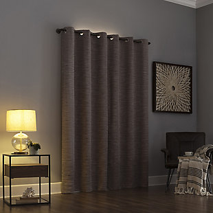 "Sun Zero Denver Distressed Stripe Thermal Extreme 100% Blackout 40"" x 84"" Latte Grommet Curtain Panel, Latte, large"