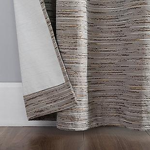 "Sun Zero Denver Distressed Stripe Thermal Extreme 100% Blackout 40"" x 84"" Latte Grommet Curtain Panel, Latte, large"