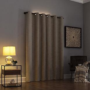 "Sun Zero Denver Distressed Stripe Thermal Extreme 100% Blackout 40"" x 84"" Soft Gold Grommet Curtain Panel, Soft Gold, large"