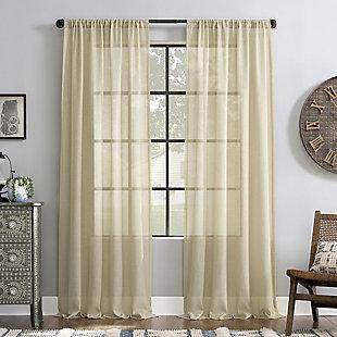 "Archaeo Slub Textured Linen Blend 52"" x 84"" Linen Curtain, Linen, rollover"