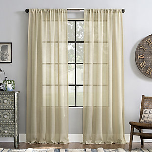"Archaeo Slub Textured Linen Blend 52"" x 84"" Linen Curtain, Linen, large"